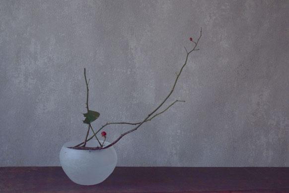 ca-koのウェブサイトです。四季折々の道草。心にとまった身近な草花を、小さな発見を楽しみながら出会った器に合わせています。抛入花の写真です。薔薇の枝と冬苺を入れました。